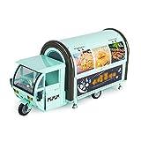 Xolye Simulation Mobilspeisewagen Modell 2 Farben Optional 01.20 Metall Tricycle Snackwagen Kinderspielzeugauto Kleines Mädchen-Spiel-Haus Offene Küche Spielzeug-Auto (Color : Grün)