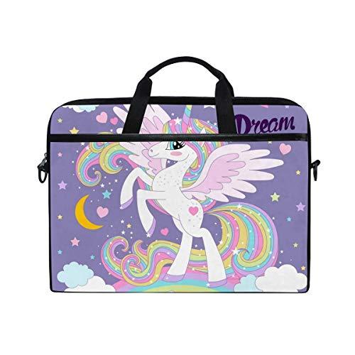 Bolso de hombro para portátil con diseño de unicornio, arcoíris, diseño de corazón, estrella de sueño, para hombres y mujeres, bolsa de transporte portátil para ordenador portátil y tablet