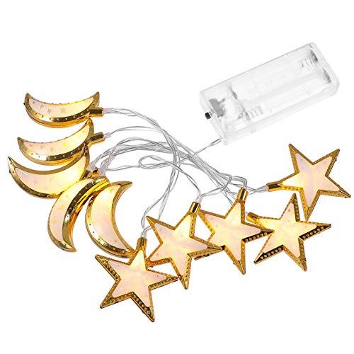 Minkissy - Guirnalda de luces LED con diseño de estrellas, color dorado