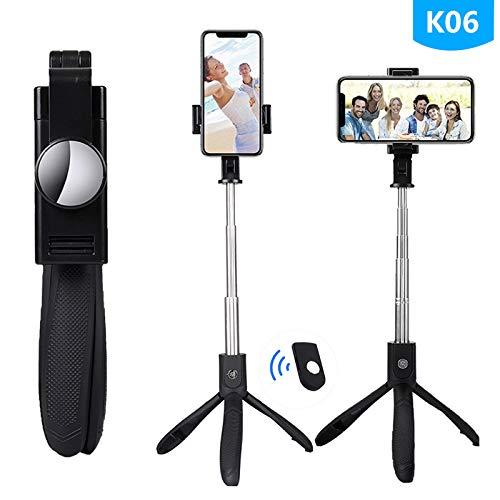 Bluetooth Selfie Stick Telecomando High-End Treppiede Mobile Universale Fotocamera dal Vivo Multi-Funzionale Treppiede Nero K06 Olio di Gomma