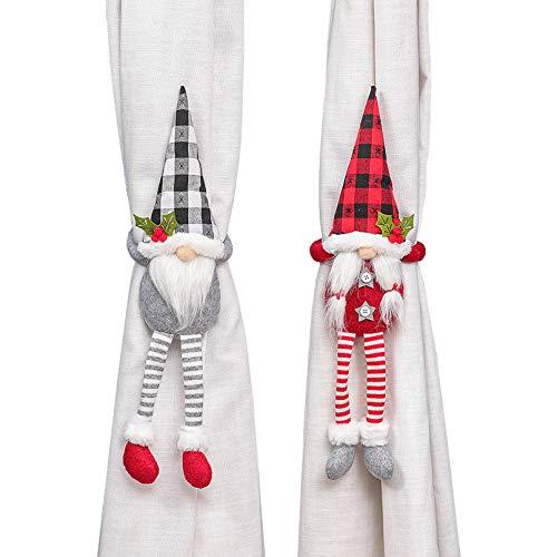 Alpurple 2 Packs Christmas Curtain Buckle- Swedish Gnome Curtain Hold Back Fastener Tiebacks for Christmas Ornaments Xmas Home Decor Window Accessories