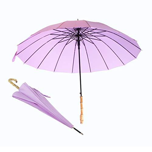 GFYS1201 Paraplu voor wandelstokken, winddicht, sterk frame met 16 ribben, auto-open, van echt bamboe-handvat