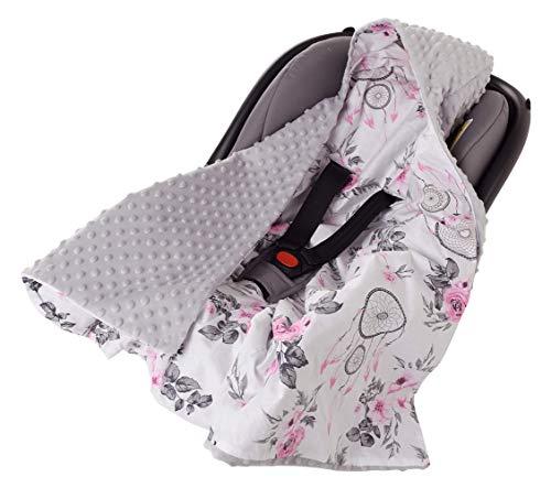 Einschlagdecke 100% Baumwolle 85x85cm Kuscheldecke für Kinderwagen Babyschale universal baby Decke doppelseitig Babydecke Buggy Autositz (Traumfänger und Blument mit grauen Minky)