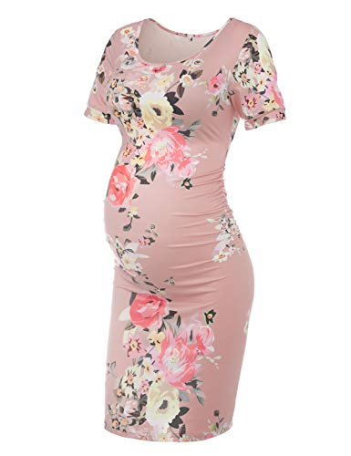 Floral Maternity Dress, Pink XL
