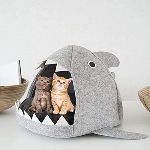 Demarkt Katzenbett Hai Nest Hundehaus Hundebett Herausnehmbares Weicher Grau Hai Haustiernest 55 * 65 * 33cm 1 Stück