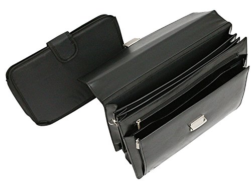 Tassia - valigetta 24 ore con tasca estraibile - rigenerato di pelle - nero