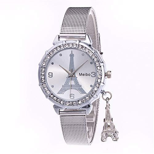 LaMei Yang weisequarzuhr Turm Armband, populäre, Elegante Uhr für Paare,Silber