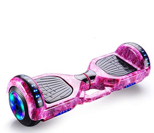 Newut Scooter eléctrico Inteligente de Equilibrio automático con Altavoz inalámbrico Incorporado Polvo de Camuflaje Inteligente Bluetooth, Hoverboard para niños de 6 a 12 años,Starry Purple,7 Inches