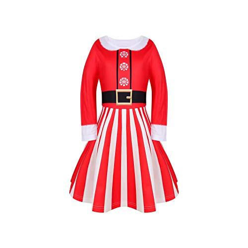Disfraz Navidad Vestido Niñas de Fiesta Vestido Princesa Manga Larga Víspera Árbol de Navidad Nieve Reno Fiesta Regalo