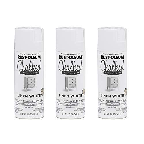 Rust-Oleum 302591A3 Chalked Ultra Matte Spray Paint, 3 Pack, Linen White, 36 Ounce