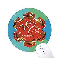 クリスマスのカラフルなガーランドの葉のイラスト 円形滑りゴムの雪マウスパッド