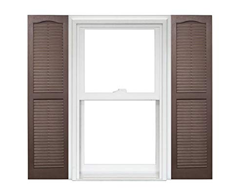 Homeside Open Louver Vinyl Shutters (1 Pair) 14-1/2in. x 59in. - 022 Chocolate