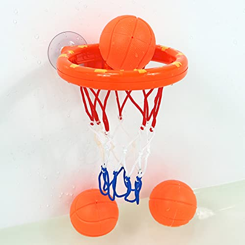 QQDL Toddler Bath Toys,Bath Game,Kid Bath Toys,BPA Free,Waterproof-dirt-free,Basketball Shooting Toy,free 3 Small Basketballs,strong Suction Cup Fixed,for Children Over 6 Months,