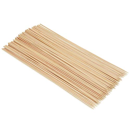 Navaris 100x Bambus BBQ Grillspieße - 300 x 3mm - Bambusstäbchen Schaschlikspieße extra lang - für Grillen Zuckerwatte Schokobrunnen Käse Fondue