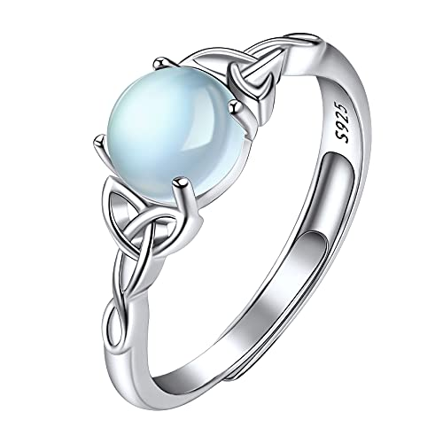 Suplight 925 Sterling Silver Adjustable Stackable Simulated Moonstone Irish Celtic Knot Promise Engagement Rings for Women Girls