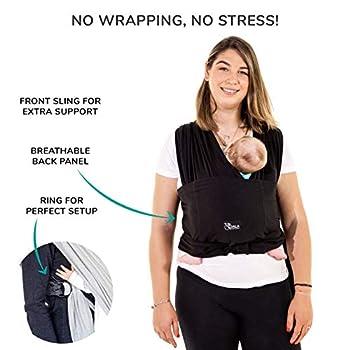 Koala Babycare Une écharpe de portage facile à enfiler, réglable, unisex - Porte-bébé multifonctionnel pour les bébés jusqu?à 10 kg - Écharpe de portage - Noir - Design Enregistré KBC®