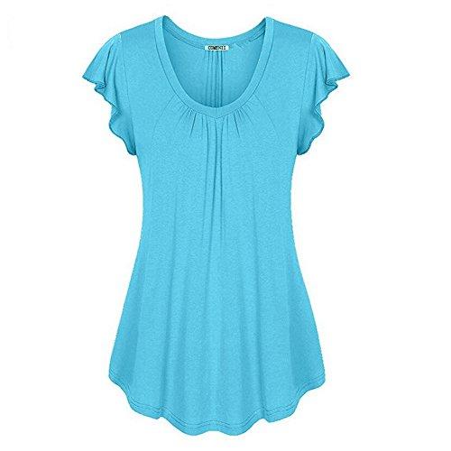 Nuevo Vestido de Color sólido para Mujer de Primavera y Verano Camiseta de Manga Corta con Manga de Hoja de Loto