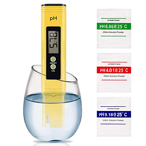Tester PH Digitale Misuratore della qualità dell Acqua Multi-Funzione Compensazione Automatica della Temperatura 0-14 PH Campo di Misura per Acquario, Piscina, Acqua Potabile.