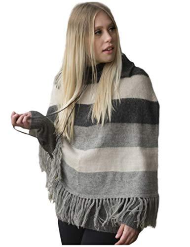 Gamboa - 100% Alpaka Poncho für Damen - Elegant Poncho - Schwarz Weiß und Grau