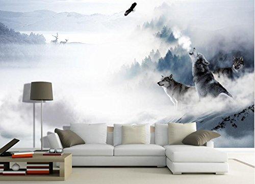 Yosot Mode Persönlichkeit Seide Tuch Tapete Wolf Schnee Elch Tv Schlafzimmer Hintergrund Wand 3D Tapete-200cmx140cm