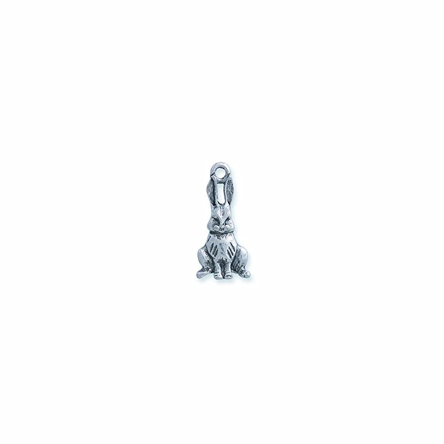 Shipwreck Beads Pewter Bunny Charm, Silver, 12 by 25mm, 6-Piece