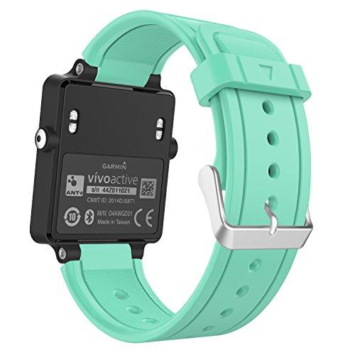 MoKo Garmin Vivoactive Correa de Reloj, Suave Silicona Reemplazo Watch Band para Garmin Vivoactive/Vivoactive Acetate Sports GPS Smartwatch - Menta Verde