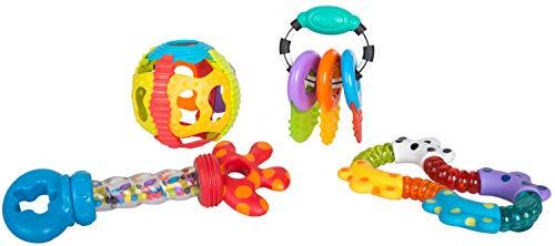 Playgro Activity Rassel- und Beißring-Geschenkset, 4-teilig, Ab 6 Monaten, Mehrfarbig, 40197