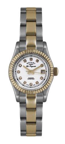 Rotary Damen-Armbanduhr XS Ultraflach Analog Quarz Edelstahl beschichtet LB08152/02