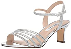 Dance the night away in these Nina® Nelena dress heels. Heeled sandals feature a crystal-embellished, glittered textile upper. Ankle strap with buckle closure. Strappy, open-toe silhouette. Synthetic lining.  Lightly-padded, fixed footbed. Wrapped he...