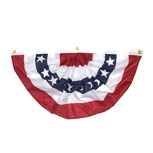 American Pleated Fan Flag USA American Bunting Decoration Print Patriotic Stars and Stripes with Canvas Title, Home & Garden for Christmas Day (Multicolor)