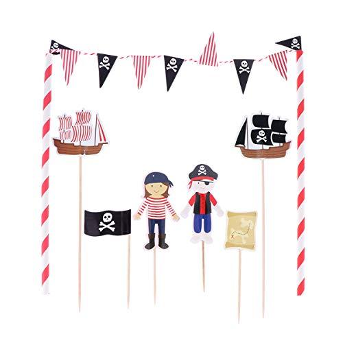 Tinksky Piratenkuchen Bunting Toppers Flag Banner Picks Wrap Dekorieren Kit für Kinder Kinder Geburtstage Gefälligkeiten Supplies