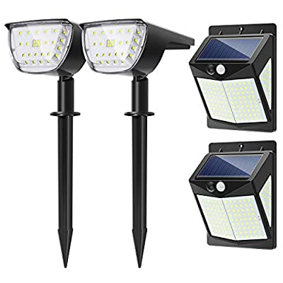 2 Pack 32 LEDs Solar Landscape Spotlights and 2 Pack 140 LEDs Solar Wall Lights ?2020 New Combination?IP67 Waterproof Wireless Outdoor Solar Lights for Yard Garden Driveway Porch Walkway-White