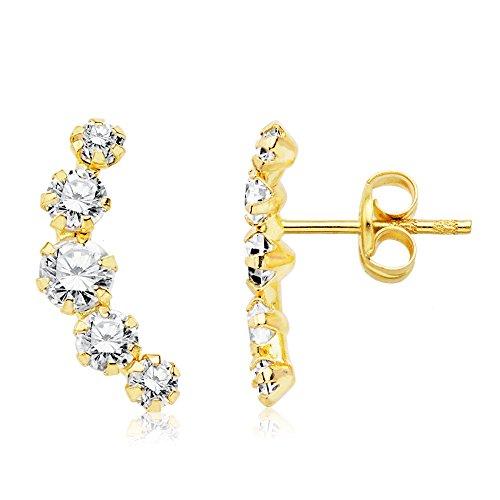 Iyé Biyé Jewels Pendientes niña Mujer trepador 12 mm circonitas Gar