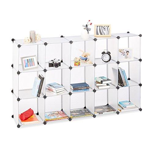 *Relaxdays Steckregal aus Kunststoff, Regalsystem erweiterbar, 15 Fächer belastbar, Standregal individuell, transparent*
