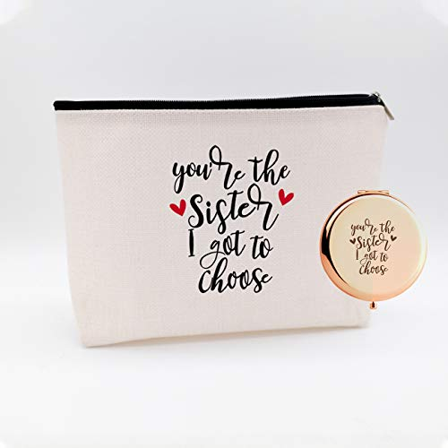 WIEZO-USA You are The Sister I Got to Choose,Funny Birthday Christmas for Sister Women Girls Bestie Best Friends,Waterproof Cosmetic Bag Makeup Bag and Travel Rose Gold Mirror,Set 2 Pcs