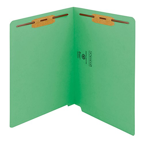 Smead WaterShed/CutLess End Tab Fastener File Folder, Reinforced Straight-Cut Tab, 2 Fasteners, Letter Size, Green, 50 per Box (25150)