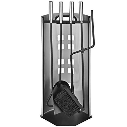 5-teiliges Luxus-Kaminbesteck - Inkl. Besen, Zange, Schaufel & Haken - Rostfreier Edelstahl - Hochwertige Qualität & stabile Ausführung - Ideal für Winterabende am Kamin