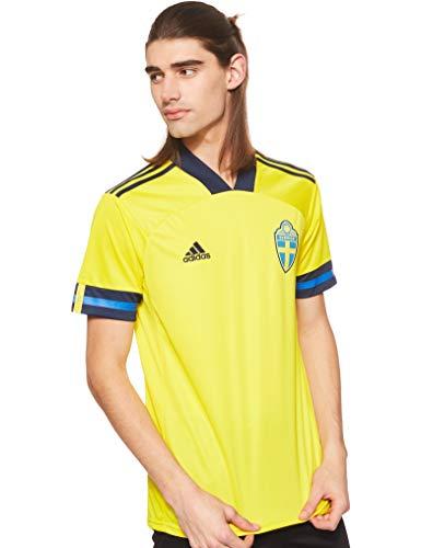 adidas Suecia SVFF Temporada 2020/21 Camiseta Primera equipación, Unisex, Yellow/Night Indigo, 152