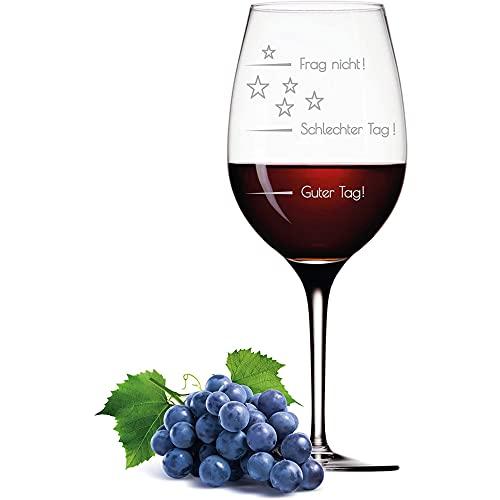 FORYOU24 Leonardo XL Weinglas mit Gravur Motiv Guter Tag - Schlechter Tag - Frag Nicht Good-Day Wein-Glas graviert Stimmungsbarometer Geschenkidee