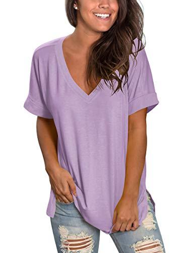 Womens Short Sleeve Plain T Shirts Summer Cute Tops Plus Size Violet XXL