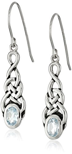 Amazon CollectionSterling Silver Celtic Knot Blue Topaz Linear Drop Earrings