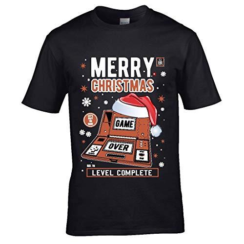 Premium retro Kerstmis Santa hoed hand spelen oud school spel & klok stijl heren kerst T-shirt top