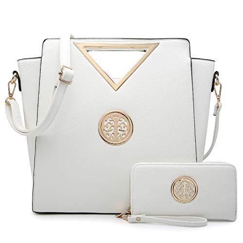 Dasein Women Designer Handbag Cut Out Triangle Top Handle Bag Large Tote Bag Fashion Work Purse (7464 White)