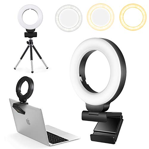 FDKOBE Selfie Ring Light, Video Conference Lighting with Webcam Style Mount and Tripod, Webcam Light with 3 Light Modes & 10 Brightness Levels for Laptop, PC Monitor, Makeup, YouTube, TikTok… (4 inch)