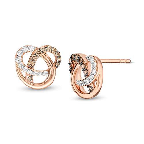 2Hearts 1/5 CT. T.W. Aretes de diamantes en forma de órbita de corte redondo y champán transparente D / VVS1 en plata de ley 925 chapada en oro rosa de 10 quilates