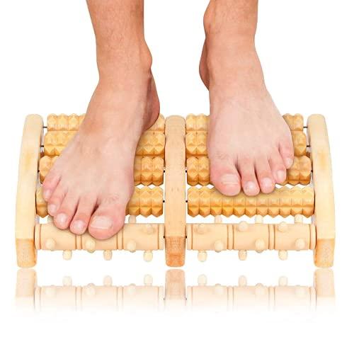 Rullo Massaggio Piedi Legno, Meirrai Massaggiatore Doppio per Piede per Rilassare, Dolore agli Archi...