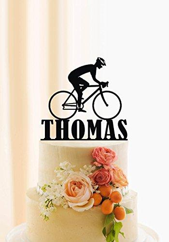 Qidushop Fahrrad-Tortenaufsatz für Herren, Fahrrad-Tortenaufsatz für Damen, personalisierter Geburtstagstorten-Aufsatz für Jungen, dekorativ