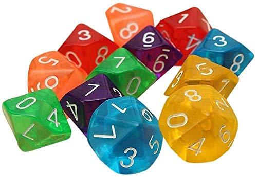 Hinleise D10 Lot de 10 dés à dix faces pour jeux de table Transparent