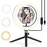Luz de Anillo LED 10.2' Aro de Luz para móvil con Trípode 3 Modos de Luz y 10Niveles de Brillo Wireless Control Remoto Ring Light para Movil TIK Tok, Maquillaje, Selfie, Streaming, Youtube