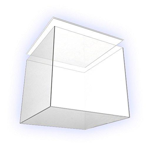 . Präsentationsbox 15cm x 15cm x 15cm groß mit Boden/Deckel Deko Acryl-Würfel Plexiglas, 5 transparente Seiten farblos Wasserdicht von HOKU